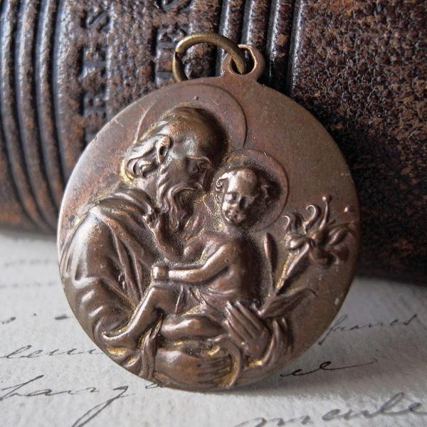 画像1: 幼子イエスと聖父ヨセフのブロンズメダイ