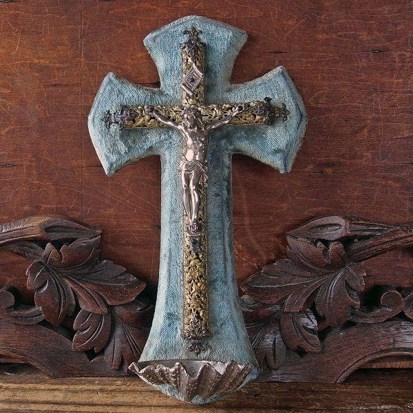画像1: 透かし紋様の十字架の聖水盤