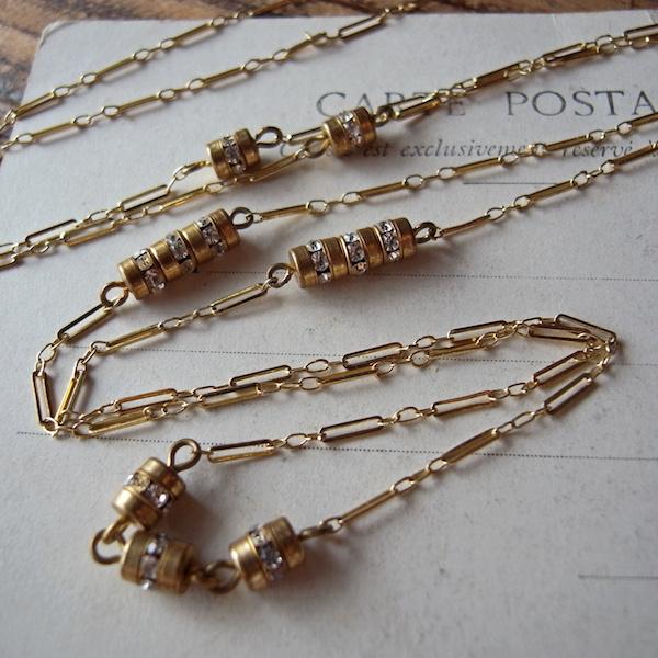 画像1: ラインストーンパーツ付き金鍍金ネックレス