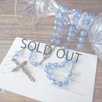 青いカットガラスビーズのヴィンテージロザリオ