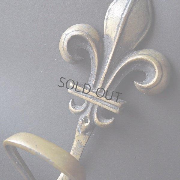 画像1: ユリの紋章の真鍮フック