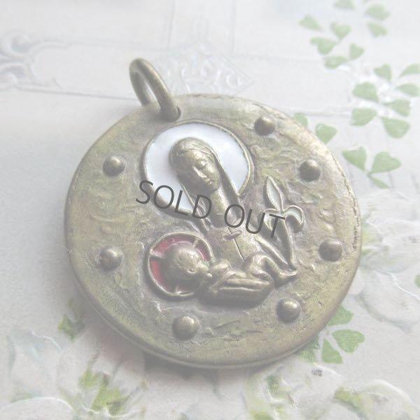 画像1: 聖母子のエナメル彩色メダイ