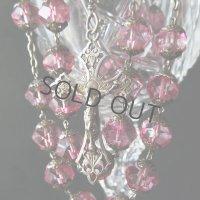 大粒のクリスタルガラスのロザリオ(シルバー)