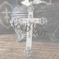 シルバー×マザーオブパールの大きめの十字架