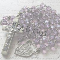 紫のクリスタルガラスビーズのロザリオ