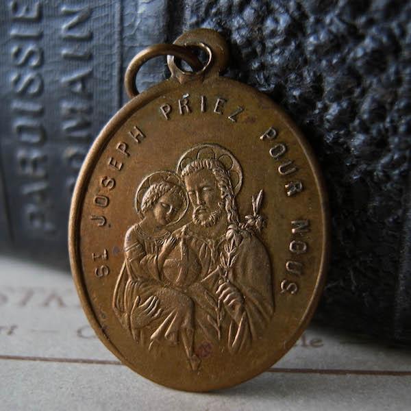 画像1: 聖ヨセフと天使ガーディアンの19世紀のメダイ