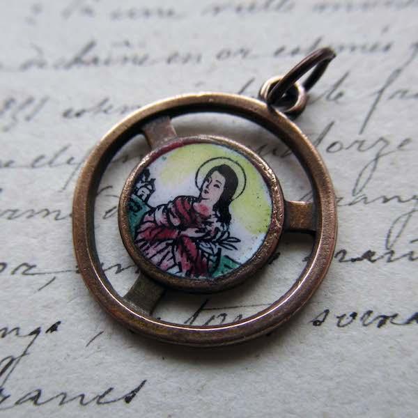 画像1: 聖マリア・ゴレッティのエナメル絵付けのメダイ