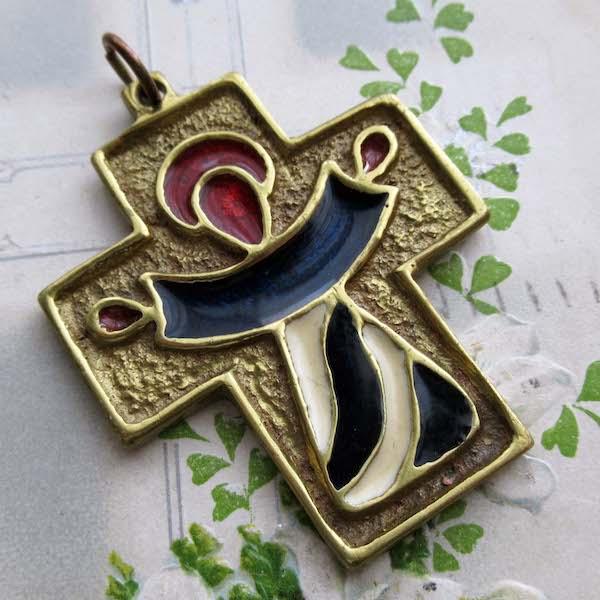 画像1: 真鍮にエナメル彩色のクロス