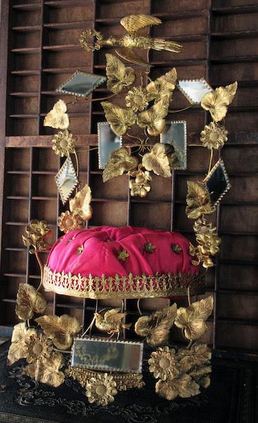 画像1: 二羽の鳩のグローブ・ド・マリエのオブジェ