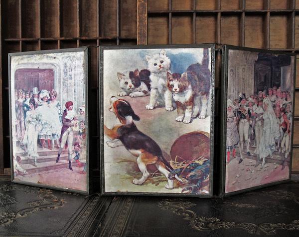 画像1: 猫と結婚式の絵の三面鏡
