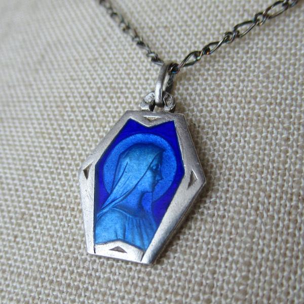 画像1: ルルドの聖母のシルバー×エナメルメダイ