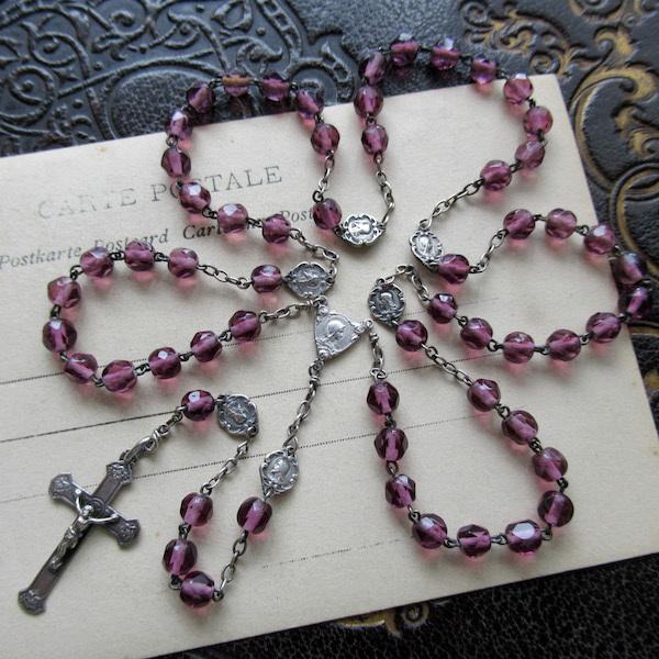 画像1: 紫のクリスタルガラスのシルバーロザリオ