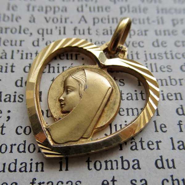 画像: 聖母マリアのゴールドプレートメダイ